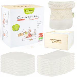 kit eco chou 10 carrés bébé lavables (10x12cm) 10 gants de change (12x15cm) dans leur boite en bois