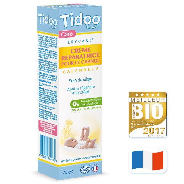 crème réparatrice bio zinc et calendula. tidoo. Tube de 75 g
