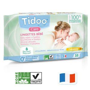 58 Lingettes bébé bio compostables avec parfum de Tidoo