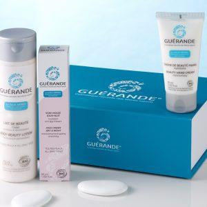 Coffret hydratation Guérande. Composé de Crème pour les mains, lait et soin de jour-nuit visage