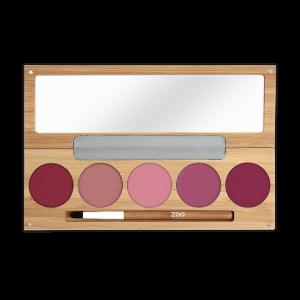 Palette kiss kiss bang bang Zao 5 rouges à lèvres avec pinceau et miroir