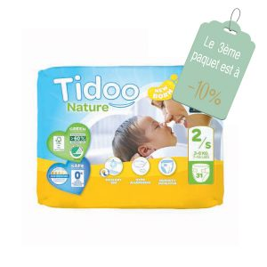 couches tidoo Taille 2 : S (3-6Kg), paquet 31 couches