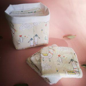 panier et 10 carrés lavables bebe