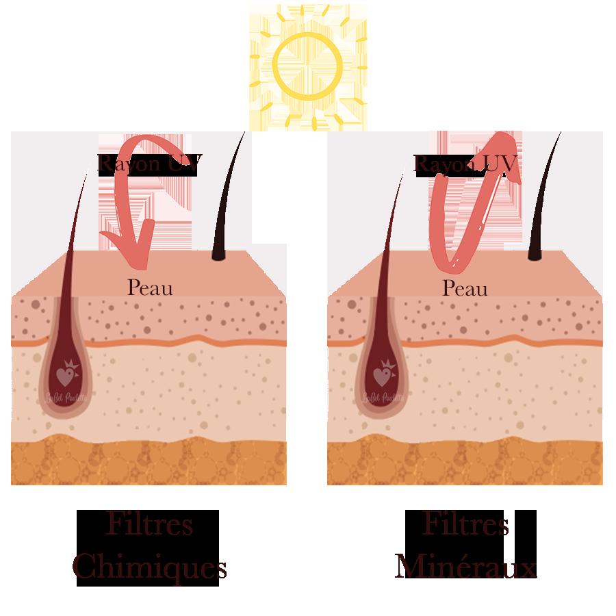 filtres chimiques et minéraux des crèmes solaires
