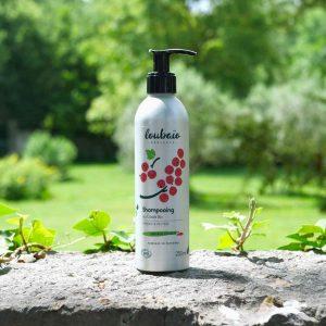 shampoing bio cheveux colorés Loubaio bouteille aluminium avec pompe